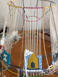 Works on the way; children's weaving.